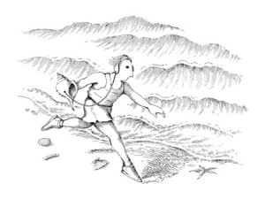 john-o-brien-man-running-along-the-beach-listening-to-a-sea-shell-with-earphones-new-yorker-cartoon